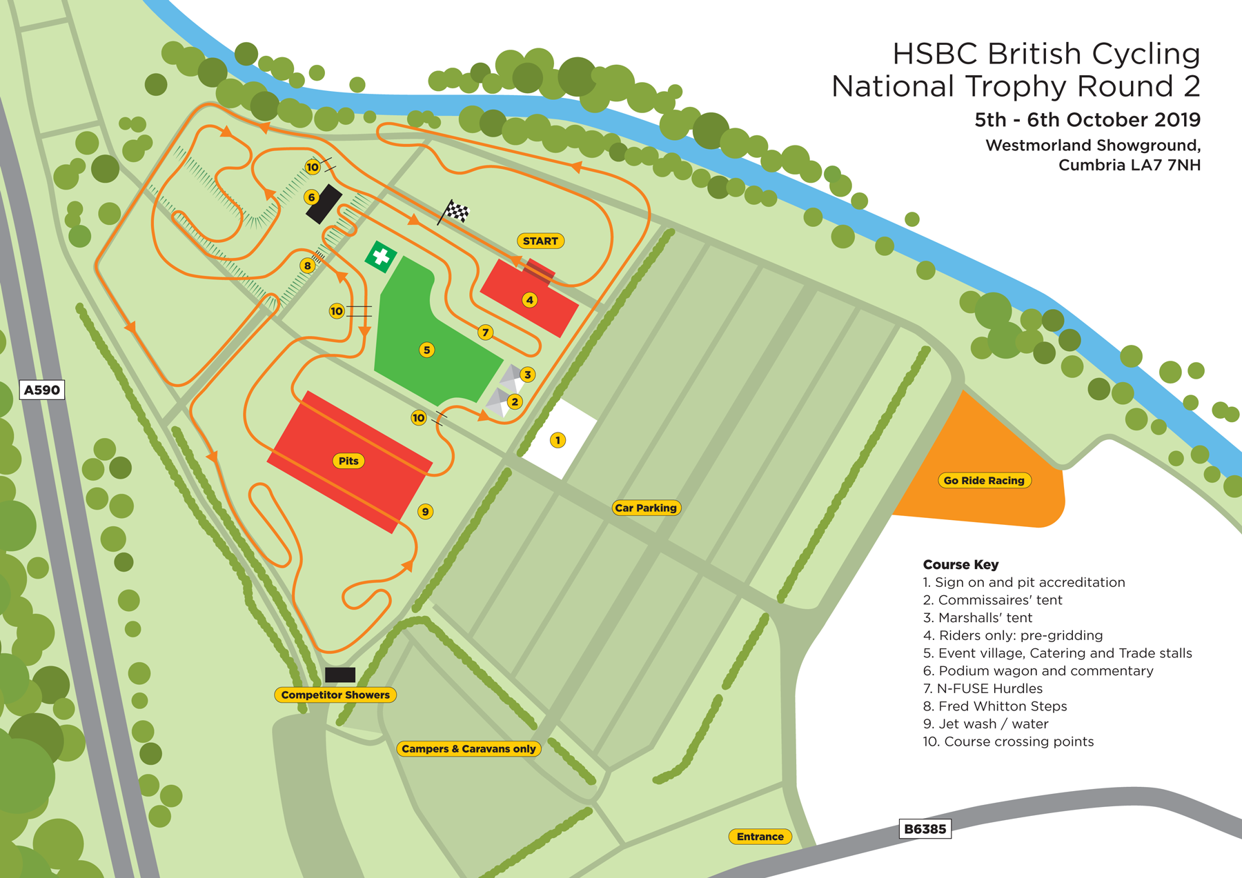 Cyclocross course map Westmorland County Showground